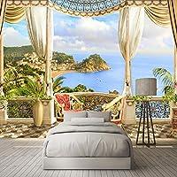 カスタム壁画壁紙用寝室リビングルームソファテレビ背景壁アート家の装飾3D海景バルコニー写真壁紙-350x250cm