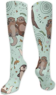 Calcetines de poliéster y algodón por encima de la rodilla, retro, unisex, para muslo, cosplay, botas largas, para deportes, gimnasio, yoga-Happy Otter Patter