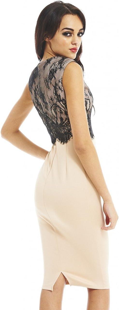 AX Paris Women's Lace Overlay Midi Dress