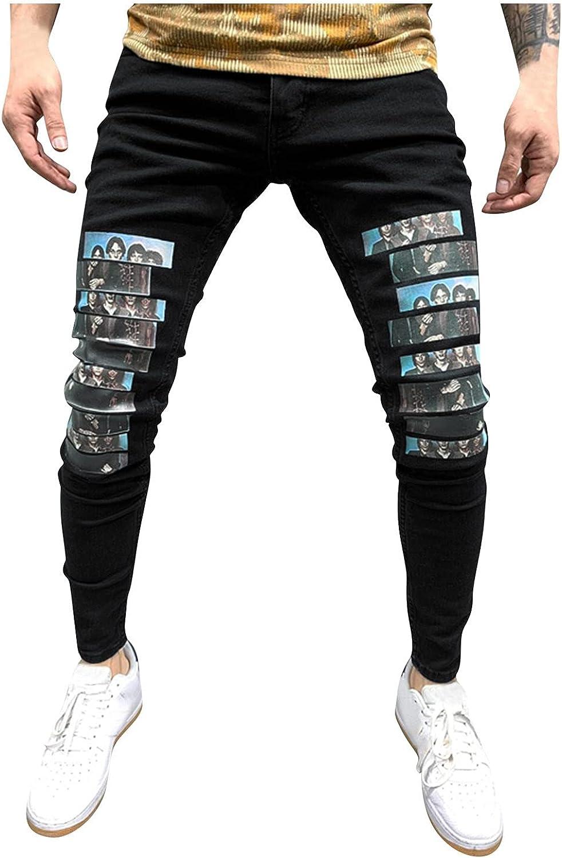 YUNDAN Mens Fashion Jeans Frayed Ripped Hole Denim Pants Casual Skinny Slim Fit Stretch Comfy Chino Pant