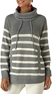 Womens Striped Long Sleeve Tops Pullover Sweatshirt,Casual Cowl Neck Sweater
