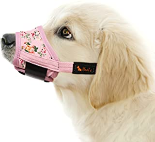 HEELE Dog Muzzle,Soft Nylon Print Muzzle Air Mesh Breathable Adjustable Loop Pattern Pets Muzzles for Small Medium Large D...