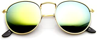 Retro Fashion Metal Frame Flash Mirror Lens Round Sunglasses