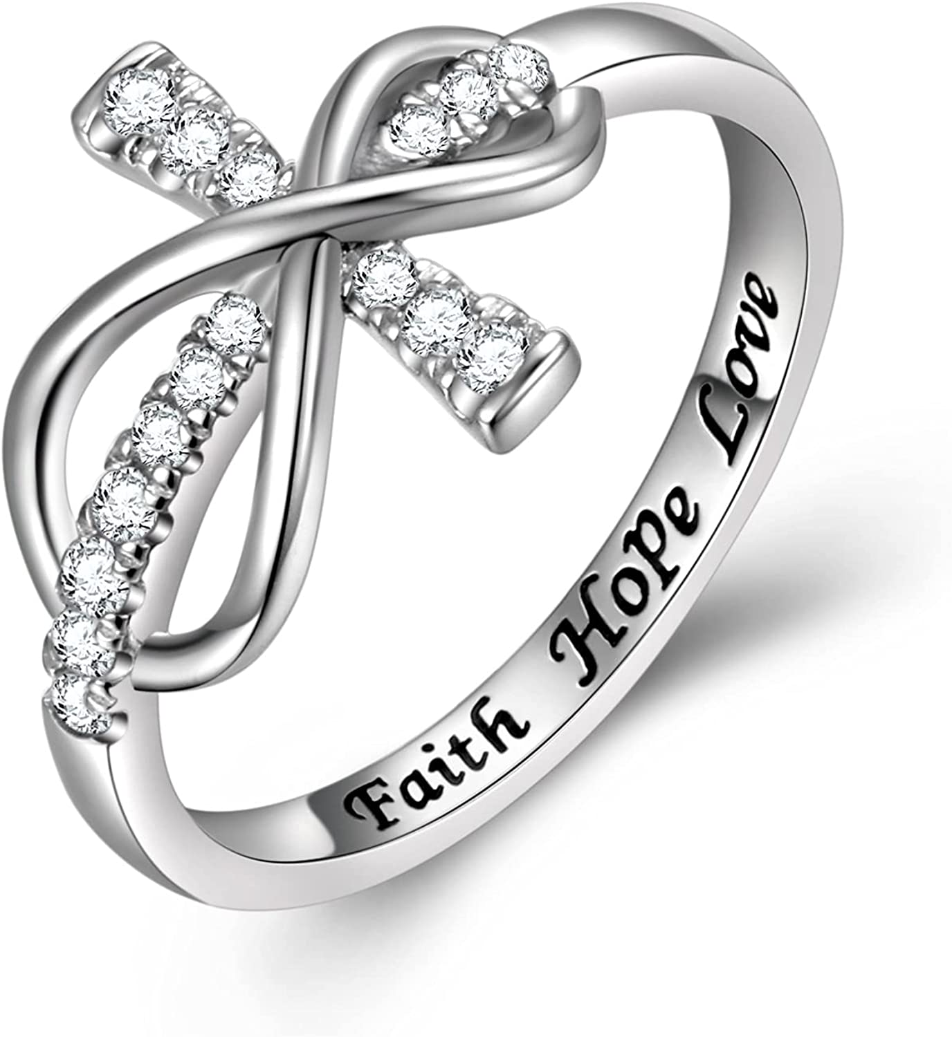 Inspirational Jewelry Opening large release sale 925 Sterling Year-end annual account Silver Lo Faith Hope Engraved