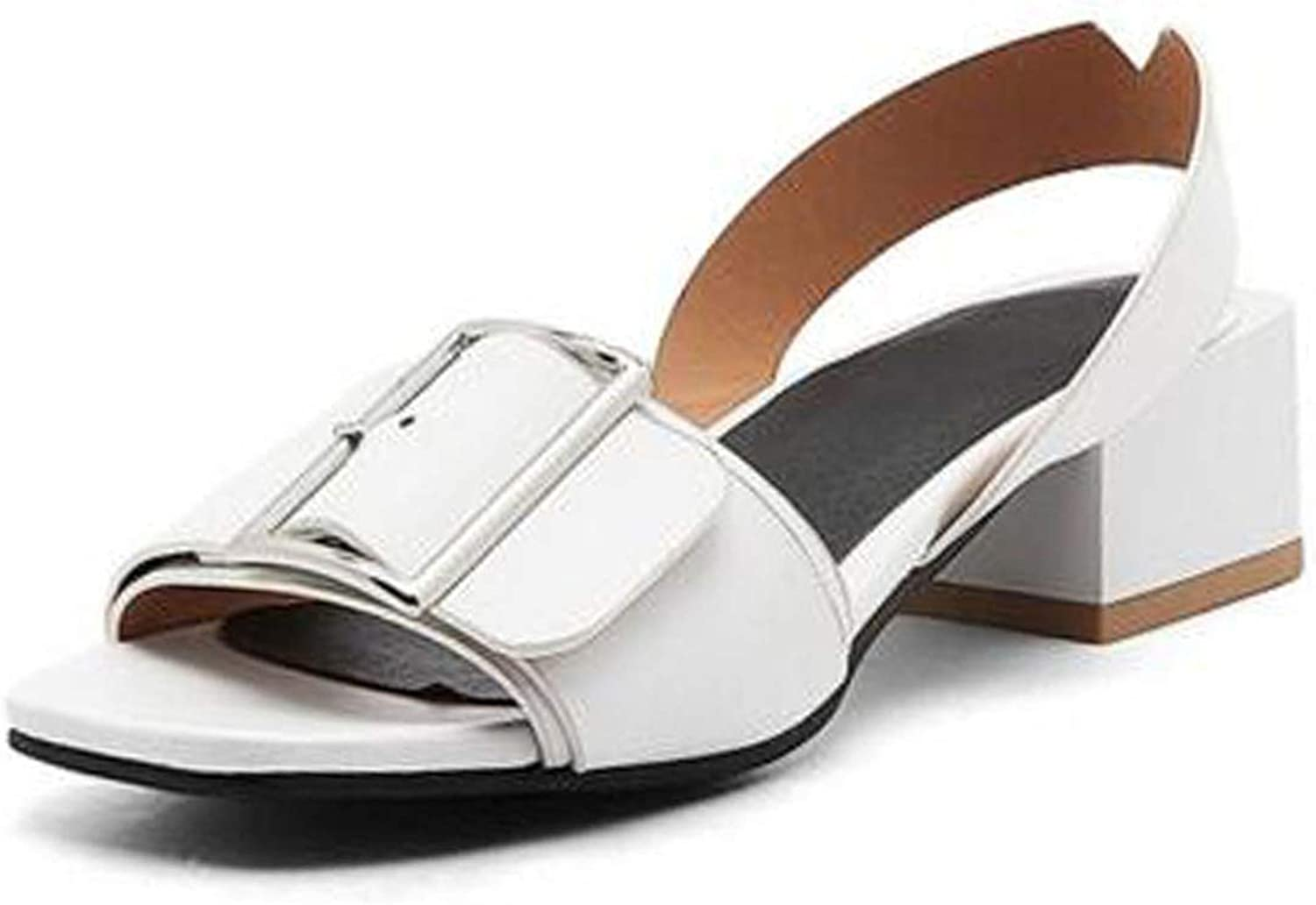 Fairly New Summer shoes Fashion Buckle Square Heels Dating Casual Fanshion shoes,White,3