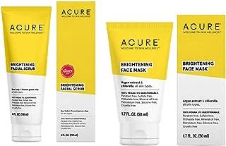 Acure Brilliantly Brightening Facial Scrub and Face Mask Bundle With Argan Oil, CoQ10, Sea Buckthorn Oil, Algae, Rosehips and Chlorella Growth Factor, 4 fl. oz. and 1.75 fl. oz.