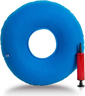 Inflatable Ring Cushion with A Pump, Medical Hemorrhoid Seat Pillow, Round Rubber Seat Cushion, Coccyx & Tailbone Pain Great for Wheelchairs- Use in The Home, Car or Office (Blue)