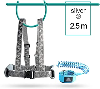 Anti Lost Safety Wrist Link Belt, 2.5M Harness Flexible Adjustable Child Walking Strap, with 360 °Rotation and Retractability Wrist Harness Set, Suitable for 1-12 Year Old Child,Silver