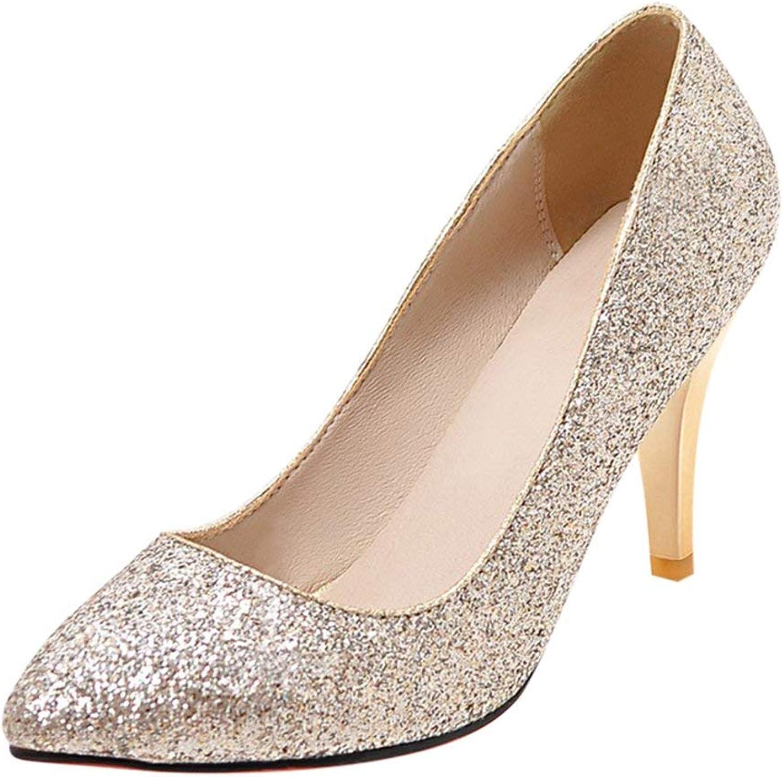 KIKIVA Women Sparkly Pointed Toe Pumps Glitter Stiletto Court shoes