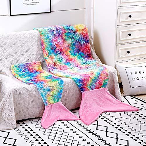 Meerjungfrauenschwanz-Decke, glitzernd, gemütlich, weiches Flanell, Regenbogenfarben, für alle Jahreszeiten, für Mädchen (Dunkelrosa, bunt, Erwachsene)