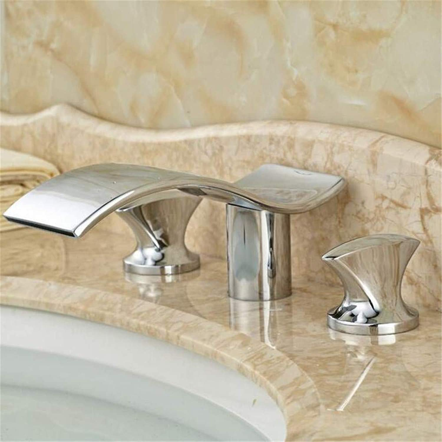 Faucetbasin Faucet Bathroom Sink Tap Dual Handle Luxury Bathroom Sink Faucet Chrome Finish Waterfall Basin Mixer Tap
