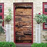WSLIANG Pegatinas Puerta tridimensionales 3D Vinilo Decorativo Puerta Madera Arte Papel Grano Madera Relieve con Pegamento Trasero para Decoración Oficina Casa 30.3'x78.7 Grano Madera