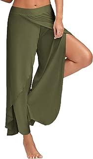 M-XXXXXL 2019 Casual Palazzo Pants Hoge Split Women Wide Leg Elastic Waist High Split Loose