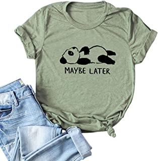 Womens Cute Funny Animal Maybe Later Print Graphic T-Shirts (Way Off,Order 3 Size Up)