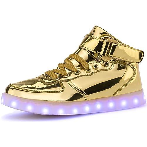 Poppin Kicks LED Light Up Shoes Boy Girl Metallic Leather Hi Fashion  Sneakers (Toddler  e0d0ee9626e6