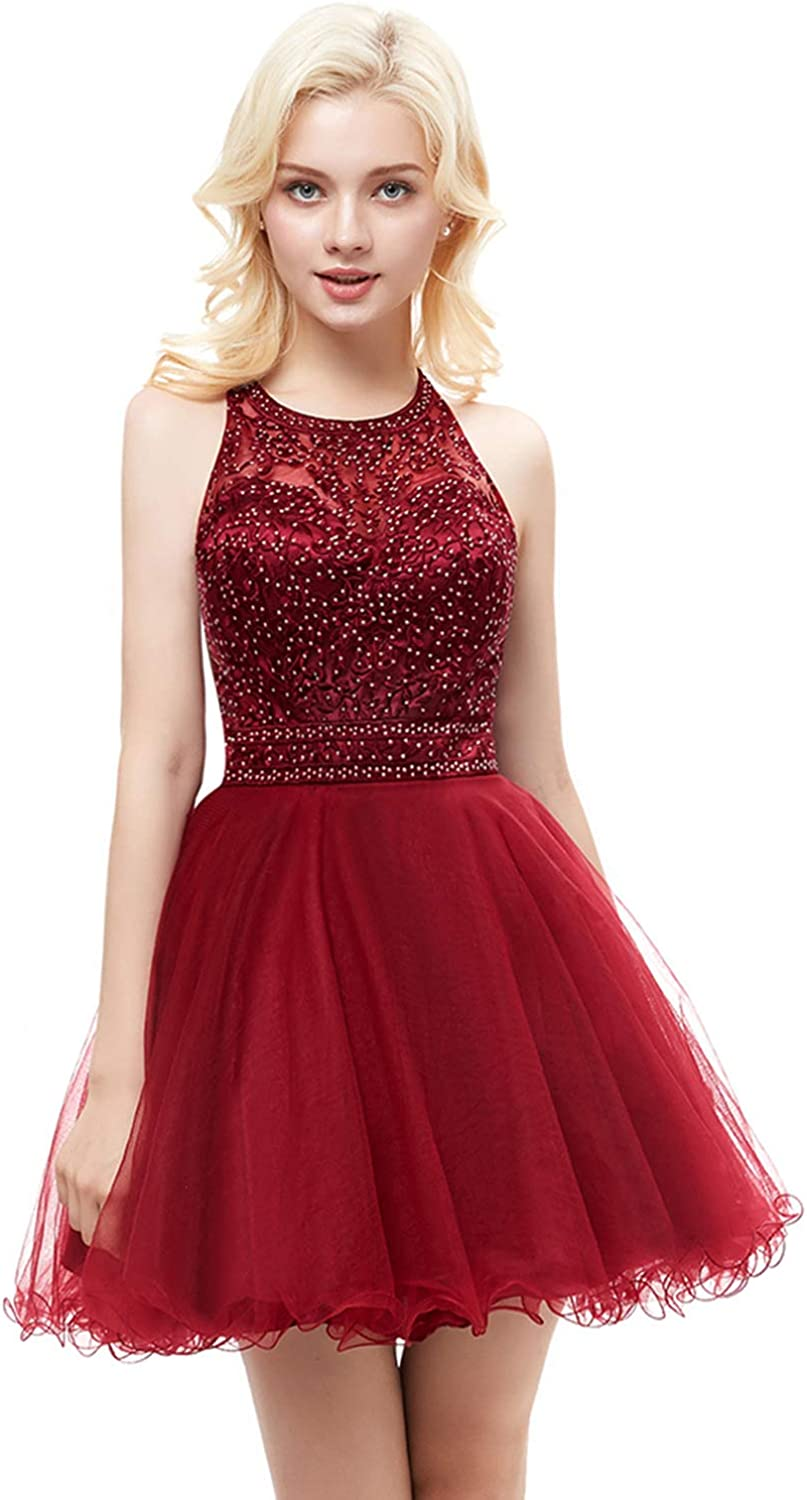 BessWedding Women's Tulle Beaded Homecoming Dresses Short 2018 Formal Party Gown BWHS111
