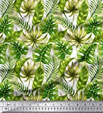 Soimoi Green Cotton Cambric Fabric Tropical Leaves Print Fabric by The Yard 42 Inch Wide
