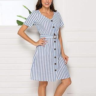 Mdhnfhdjd Striped Short-sleeved Belt Dress (Color:Light Blue Size:S) (Color : Light Blue, Size : One Size)