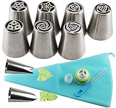13Pcs/Set Russian Icing PiTips 1 Pcs Silicone Bag 2 Coupler Leaf Nozzles Brush Cupcake Cake Decorating DIY Dessert Elise (...