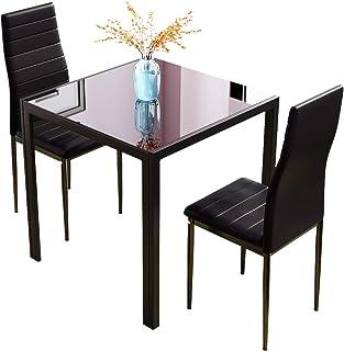 Table de Salle à Manger et Chaises, Petite Table Carrée en Verre avec Chaises à Dossier Haut Noir