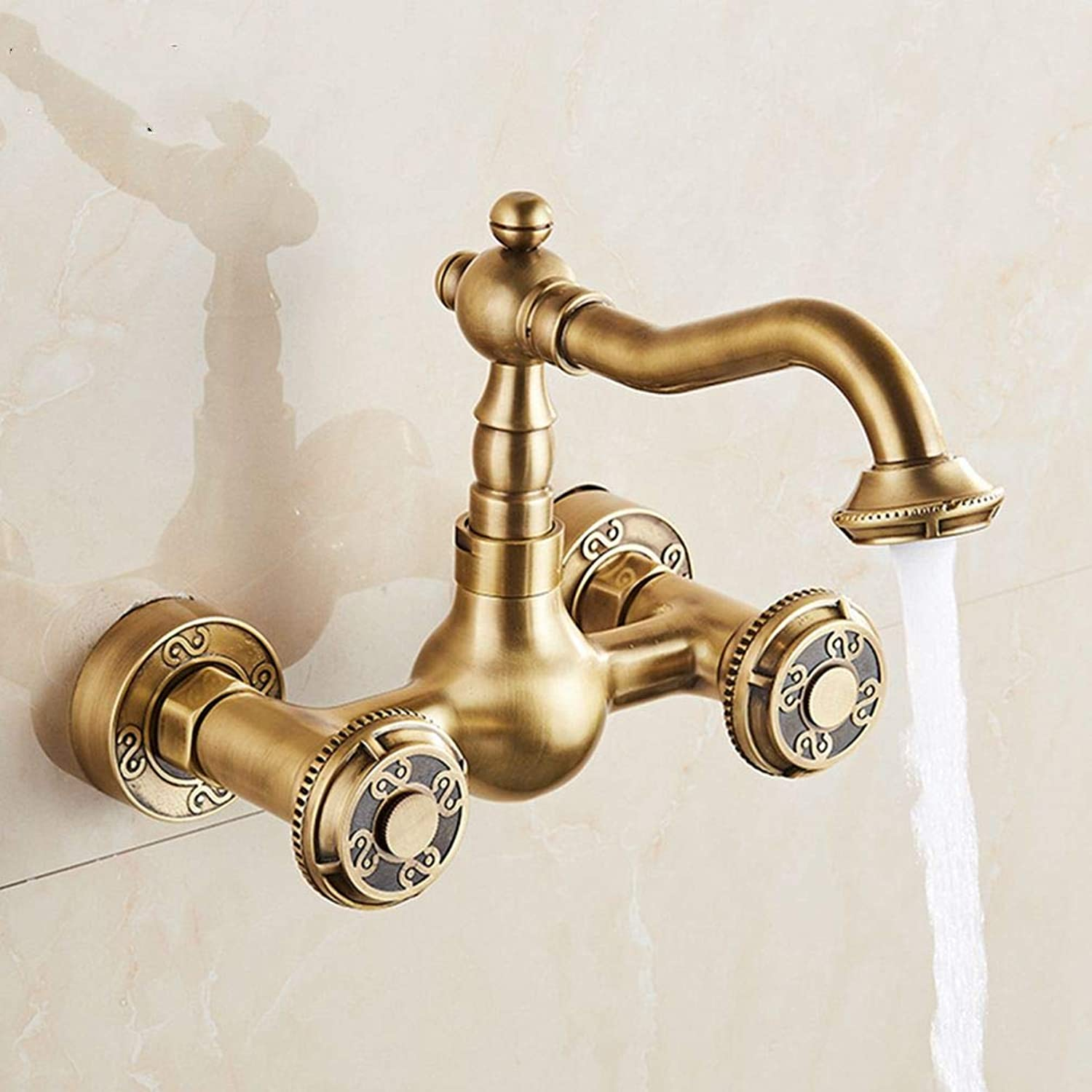 FZHLR Brass Material Wall Mounted Antique Kitchen Faucet Hot and Cold Single Lever Kitchen Sink Tap Basin Faucet Mixer Basin Faucet,Antique 2