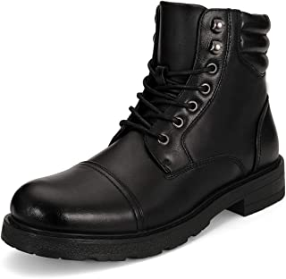 Mens Combat Boots Lace Up Zipper Motorcycle Boots