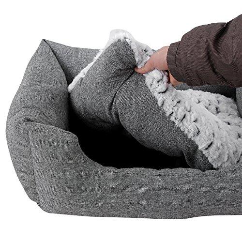 SONGMICS Hundebetten innenkissen Beidseitig Verwendbar mit unten einen Anti-Rutschboden M Außenmaße :80 x 60 x 26 cm PGW26G - 8