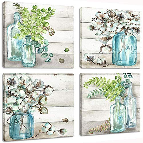Skyme Art Flowers Painting Wall Art Watercolor-Style Mason Jar on Retro Wood Background Floral Print Artwork Canvas Picture for Bedroom Living Room
