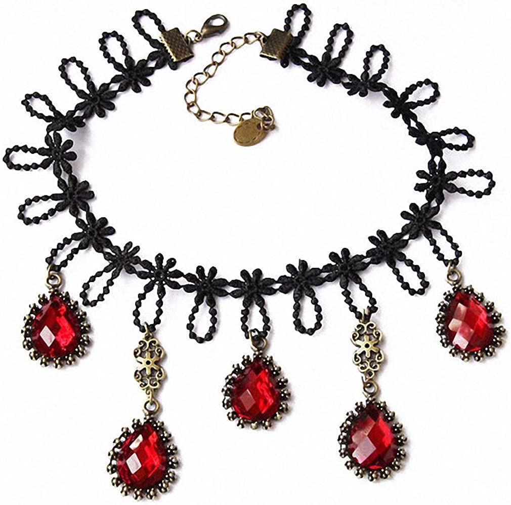 Xileg Womens Lady Handmade Gorgeous Gothic Drop Tassel Red Bead Black Lace Choker Short Necklace Collar Bridal Retro Party Ball
