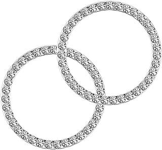 Earthland 2Pcs حلقه سنگ کریستال حلقه برای تزئین ماشین، موتور خودکار شروع دکوراسیون حلقه حلقه داخلی کریستال برای دکمه سوئیچ خودرو - براق