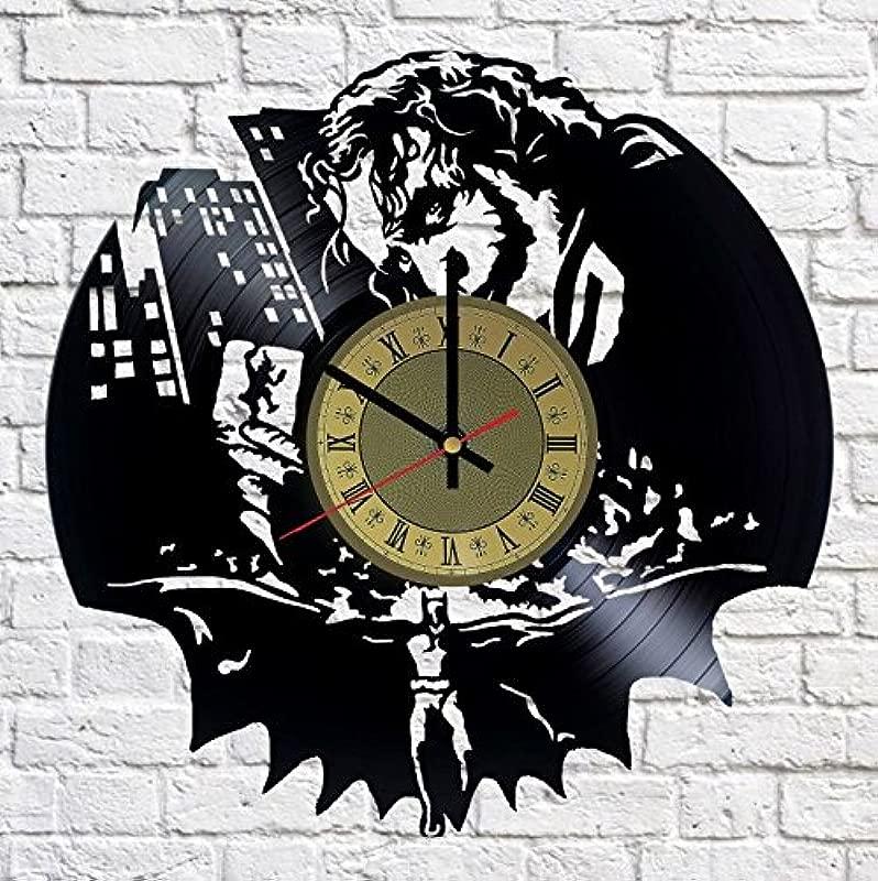 Pieceful Joker DC Comcis Vinyl Record Wall Clock Artwork Gift Idea For Birthday Christmas Women Men Friends Girlfriend Boyfriend And Teens Living Kids Room Nursery Gold Black Gold Black
