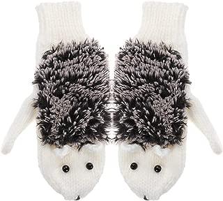 BESTOYARD Universal Wool Hedgehog Pattern Gloves Winter Warm Knitted Gloves Free Size (White)