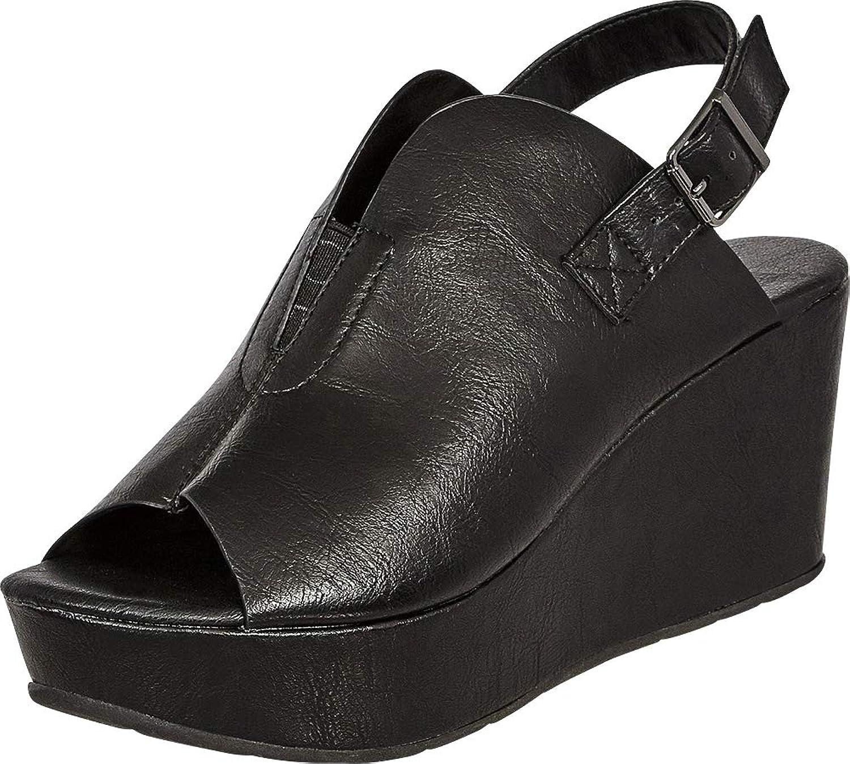 Cambridge Select Women's Open Toe Front V Cutout Stretch Slingback Chunky Platform Wedge Sandal
