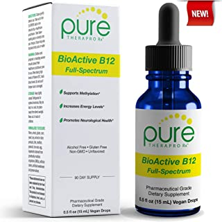 BioActive B12 Full-Spectrum - Sublingual Drops - Includes 3-in-1 Bioavailable: Methylcobalamin, Adenosylcobalamin and Hydroxocobalamin - 90 Day Supply