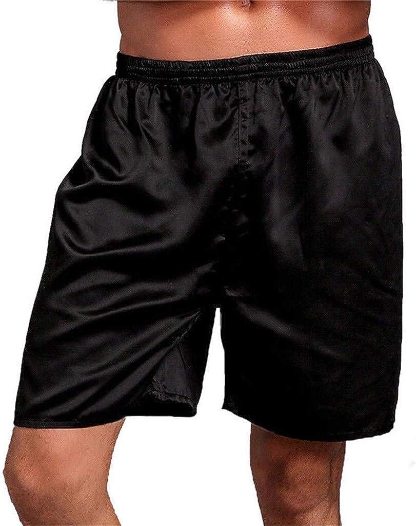 Mens Satin Boxers Shorts Sleepwear Satin Pajama Bottom Underwear Silk Sleep Shorts Luxury Solid Soft Loungewear Pajama