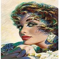 DIY 5Dダイヤモンドペインティングキット、クロスステッチクラフトキットラインストーン刺繡ウォールステッカーリビングルームクラフトの家の壁の装飾のための貼り付けられた絵-かなりの女性-40x60cm
