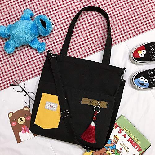 Neaer Bolso simple para mujer con bolsillo para bolígrafo, bolso de lona japonés literario, bolso de hombro casual para la compra (color: negro)