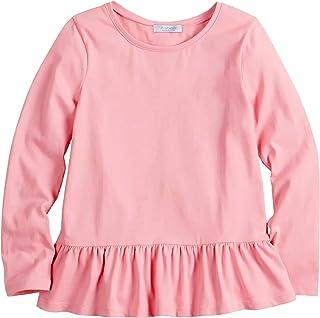Arshiner Girls T-Shirts Ruffle Hem Tunic Tops Long Sleeve Blouses Round Neck Tee Shirts