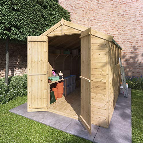 BillyOh Master Tongue and Groove Apex Shed | Pressure Treated Wooden Garden Shed with Floor and Roof Included | Windowed Storage Unit - 4 Sizes (10x6)