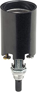 Leviton 4155-51 Incandescent Lampholder, Bottom Turn Knob Switch, Candle, Medium Base, 660W-250V, 2 Leg Steel Bracket Assembly Pinned to Socket