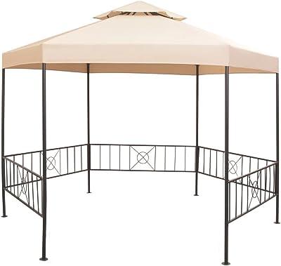FZYHFA Pérgola/Cenador de Jardín Hexagonal Beige 323x265 cm, Carpa para Exterior: Amazon.es: Jardín