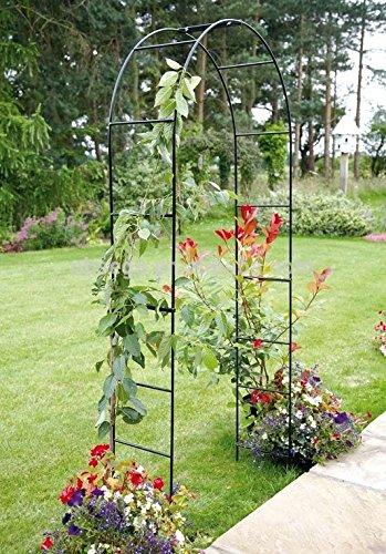 Arco de metal para jardín 2,4m para colgar plantas enrejado negro recubierto con polvo de metal