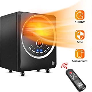 Electric Heater - Space Heater with Temperature Control, Remote&Timer, Infrared Heater with 3 Heat Modes, Room Heater with Overheat&Tip-Over Shut Off, Eco Heater for Office&Bedroom, M, Black