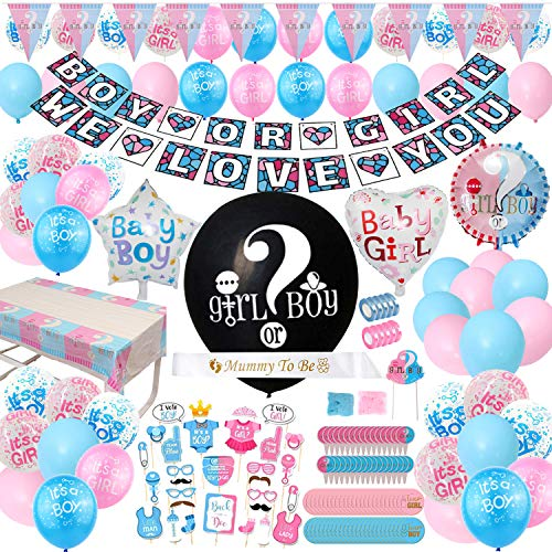 Gender Reveal Party Supplies  200 Pieces 36 Inch Reveal Balloon Boy or Girl Banner Mommy To Be Sash Baby Shower Decorations Foil Balloons and Boy Or Girl Balloons Team Girl amp Boy Stickers Cake Topper Much More