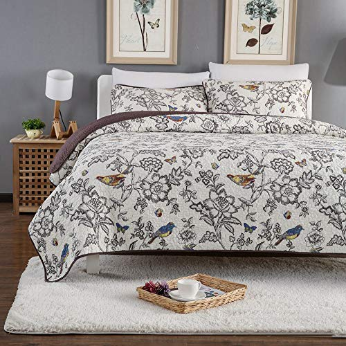 Erosebridal Birds Quilt Set Queen 100% Cotton 3 Piece Paisley Boho Bedspread Reversible - Damask Pattern - Bed Cover American Country Style Comforter/Coverlet for All Season - Birds (1 Quilt, 2 Shams)