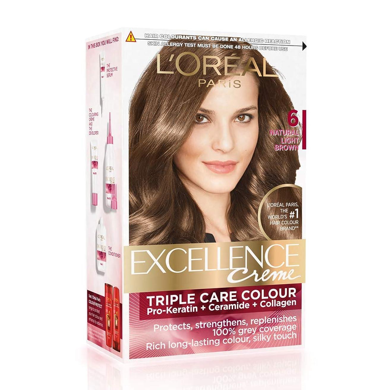 ランチ味方水L'Oreal Paris Excellence Creme Hair Color, 6 Natural Light Brown, 72ml+100g