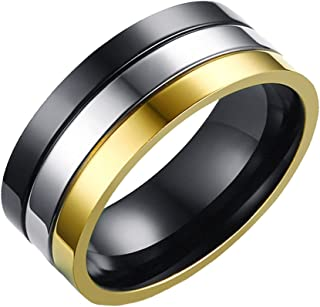 Men's Stainless Steel 8MM Black Gold Original Features Plain Ring
