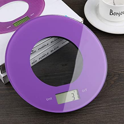 Round Electronic Kitchen Scale Slim Design Kitchen Scales Touch Buttons High Precision Sensing System Measuring in ml g lb oz Including Batteries 20 * 20 * 1.8cm
