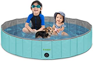 "KUNDU Round (47"" Diameter x 12"" Deep) Heavy Duty PVC Pets and Kids Outdoor Pool/Bathing Tub - Portable & Foldable - Large"