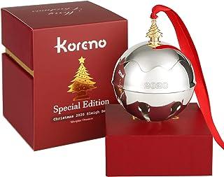 Koreno 2020 Christmas Silver Sleigh Bell Ornaments, Annual Christmas Holly Bell for Christmas Tree Decorations Anniversary...